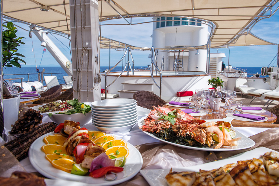 Lunch laud out aboard superyacht Sherakhan