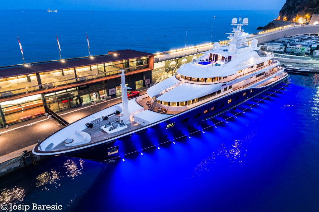 A superyacht with OceanLED underwater lights in Monaco