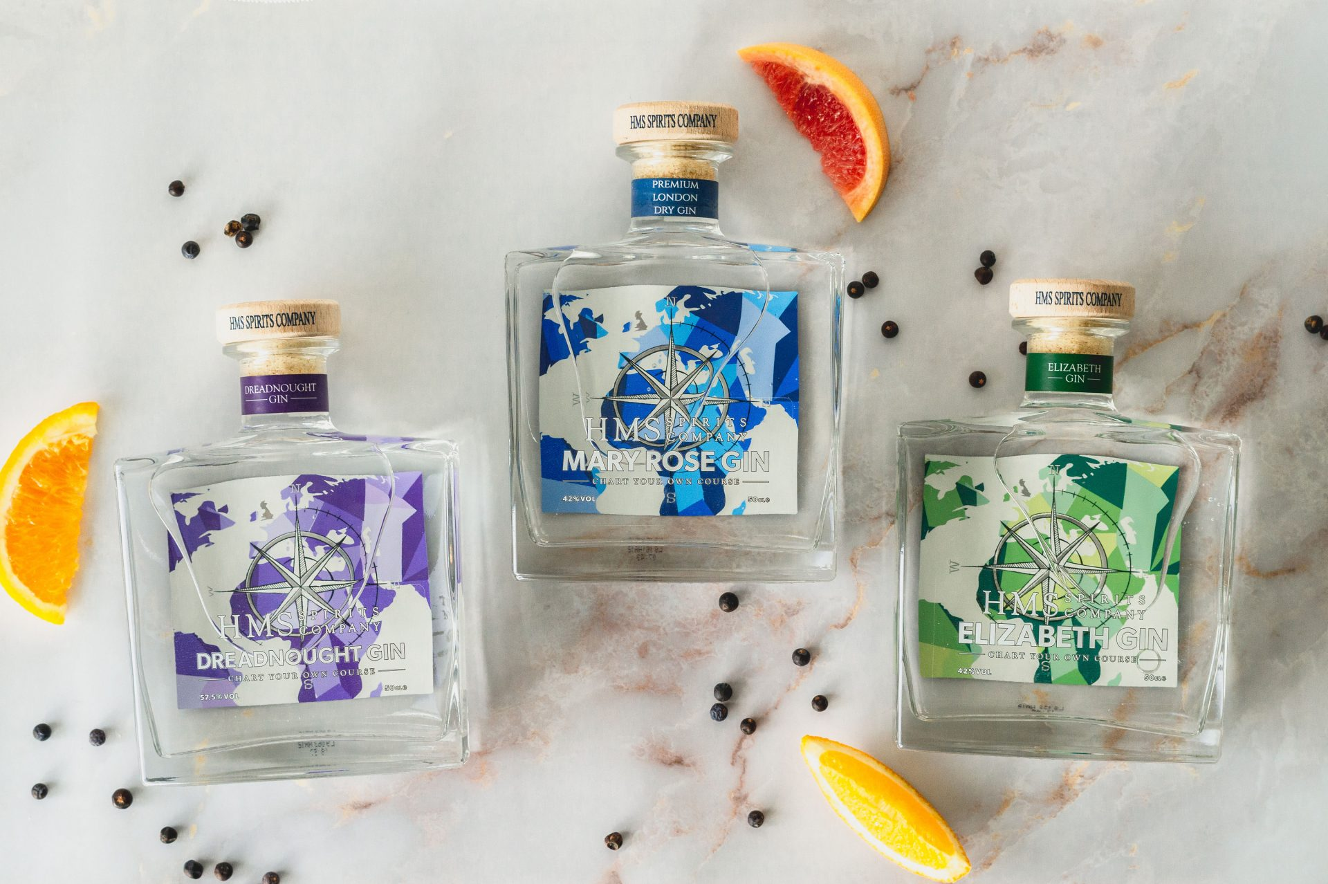 The HMS Spirits gin collection