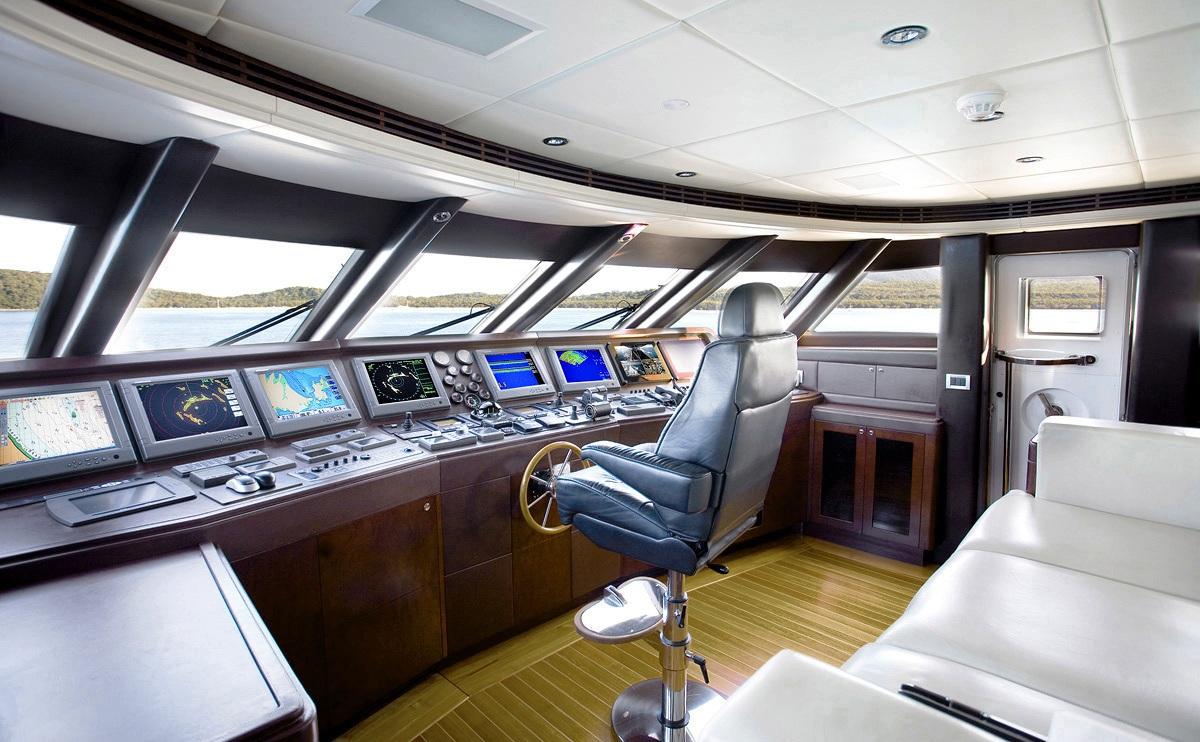 The bridge of a superyacht