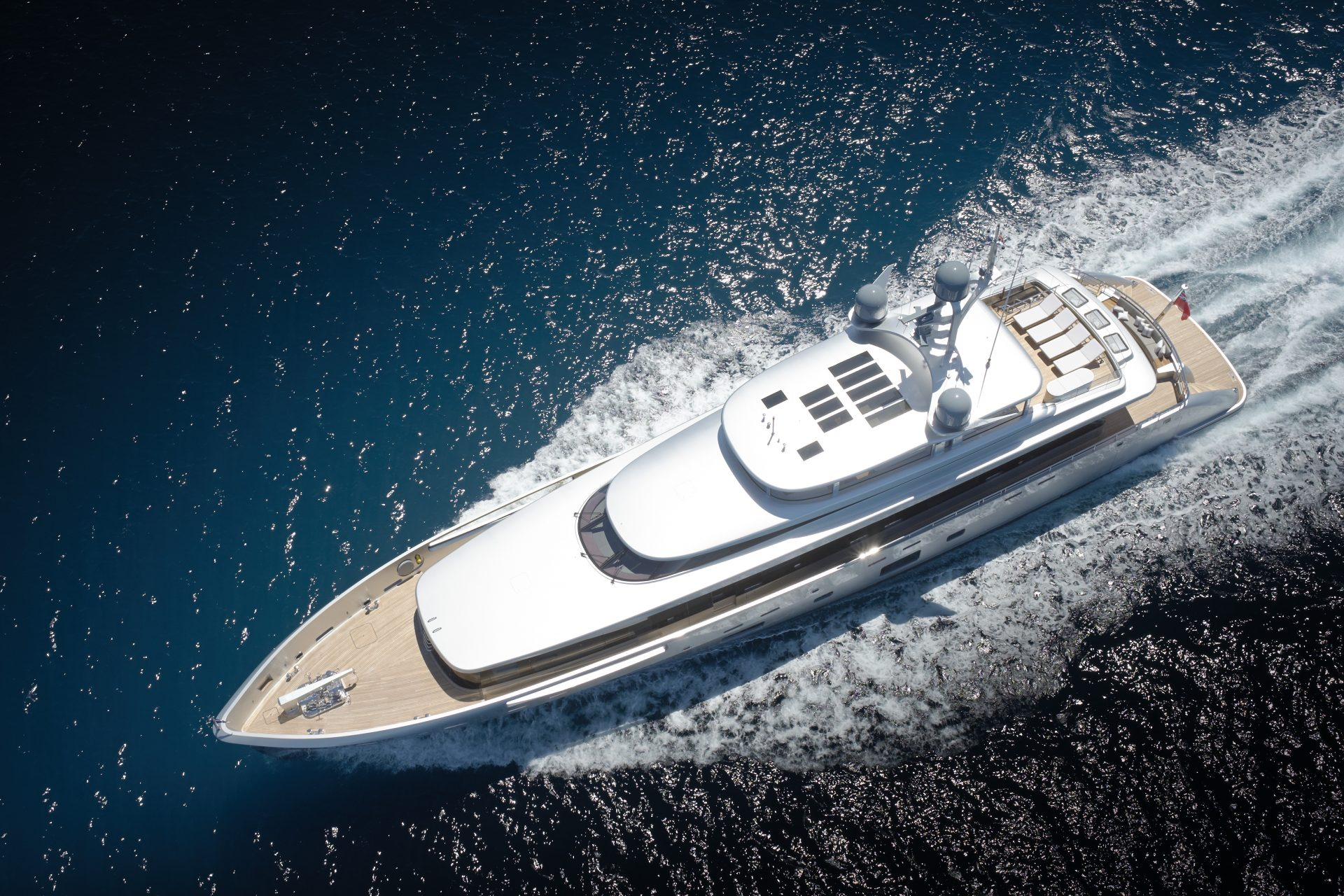 Aerial view of superyacht Lady May