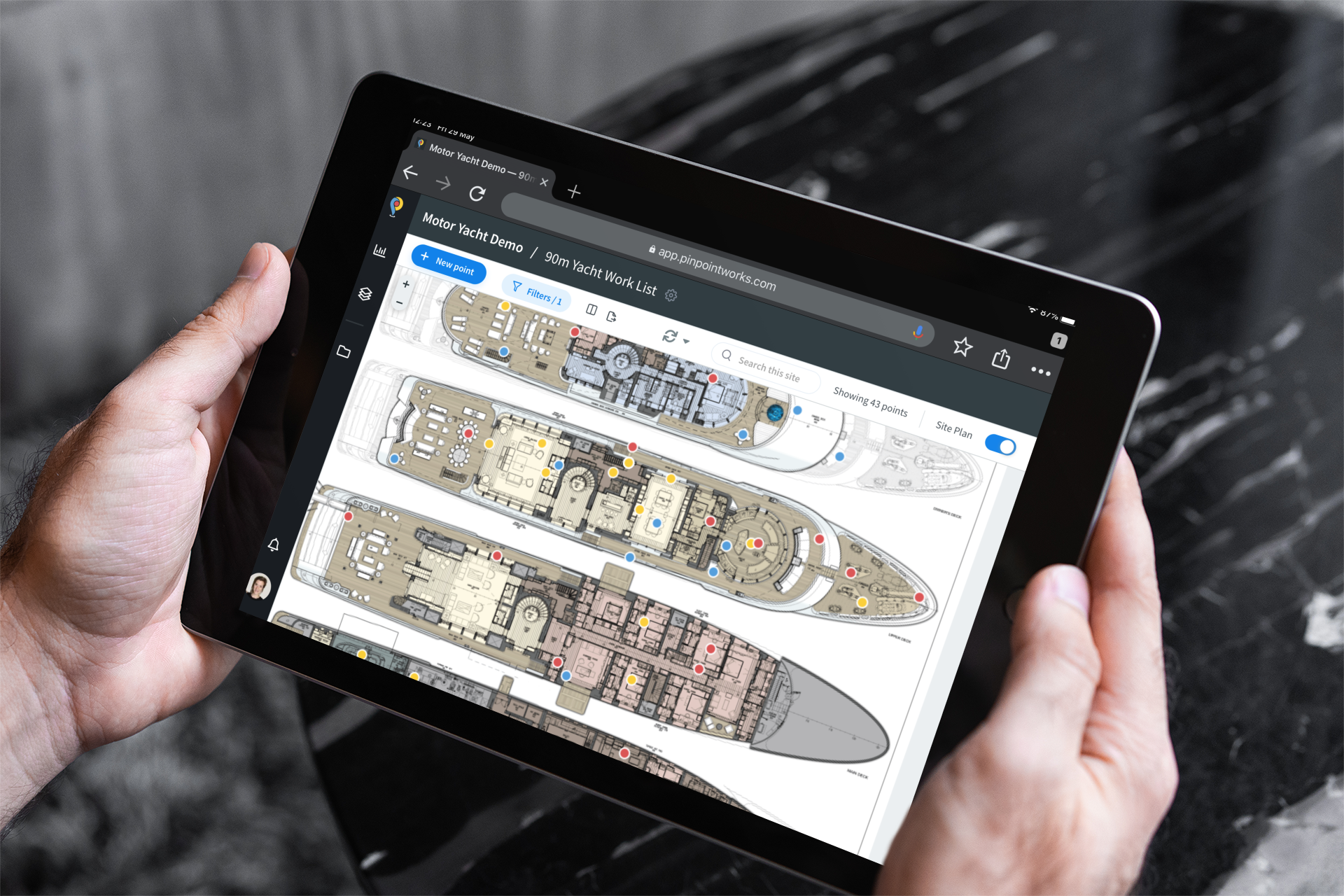 Review superyacht GA plans in the Pinpoint Works app